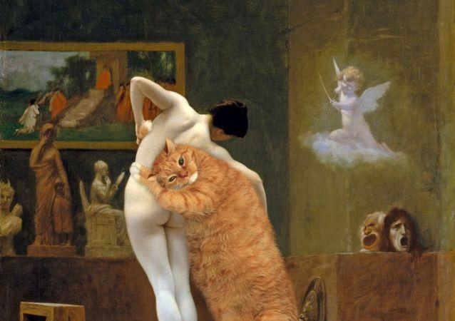 ژان لئون جروم ، گربه پیگمالیون و گالاته با گربه زاراستوسترا در پروژه سوتلانا پتروا  Fat Cat Art