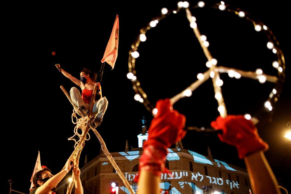 تظاهرات علیه نخست وزیر اسرائیل بنیامین نتانیاهو