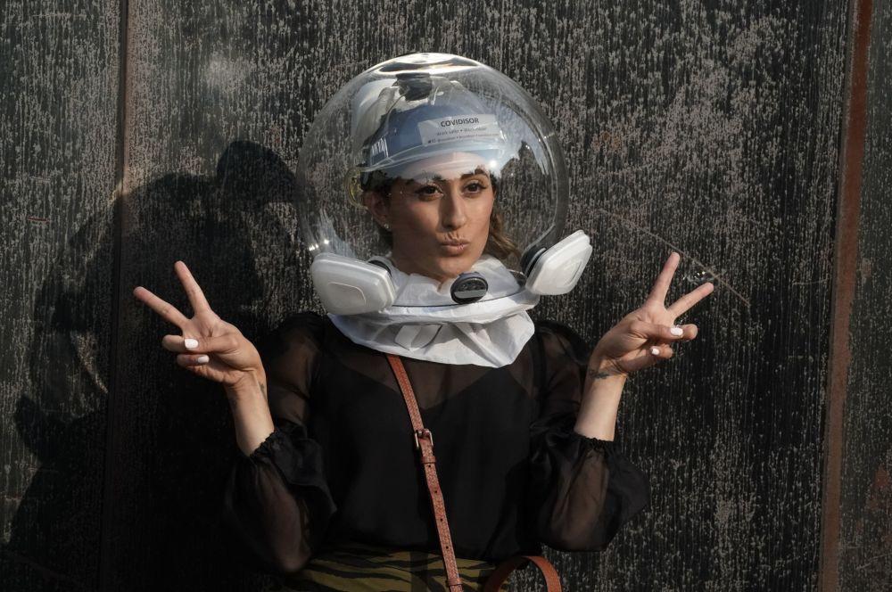 شرکت کننده در نمایش مد در هفته مد نیویورک