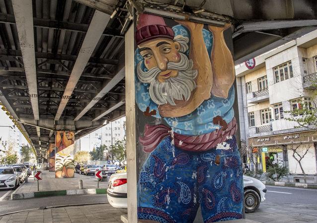گرافیتی پهلوانان ایرانی زیر پل کالج تهران