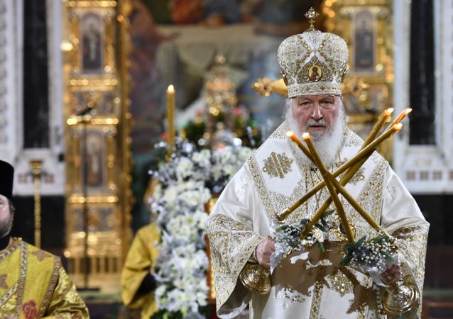 اسقف اعظم مسکو و کل روسیه در مراسم کریسمس در کلیسای مسیح منجی در مسکو