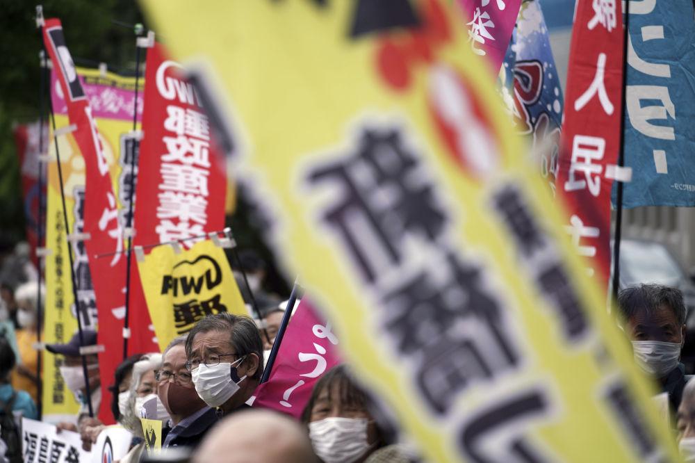 اعتراضات در ژاپن به دلیل تصمیم دولت جهت ریختن آب های آلوده فوکوشیما به اقیانوس