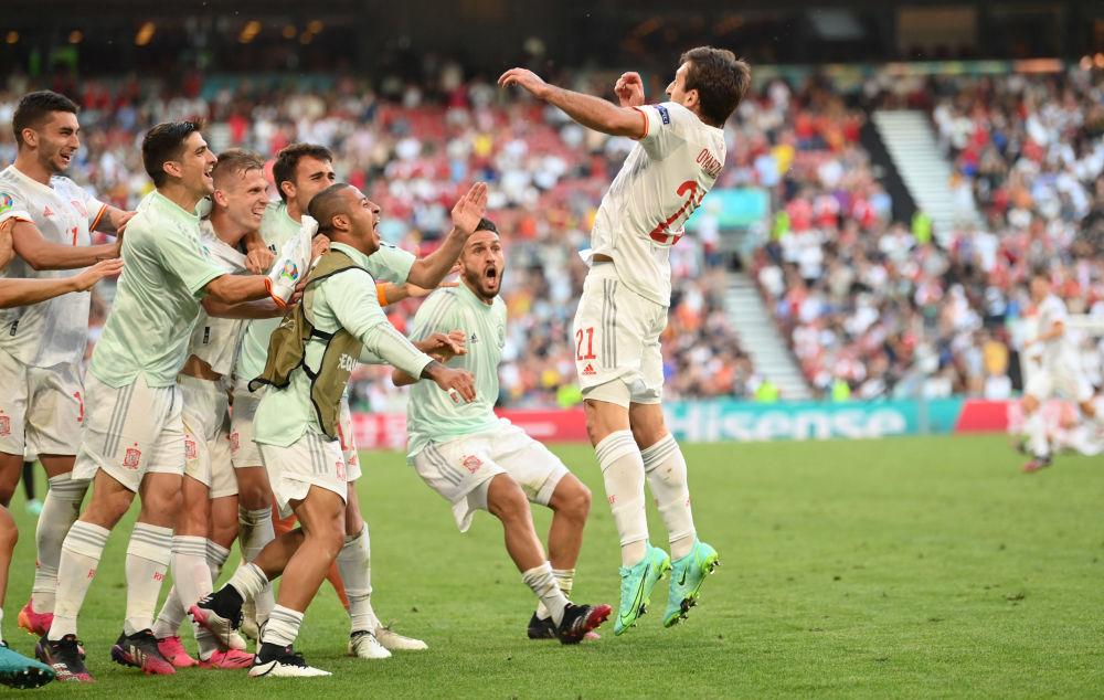 بازیکنان تیم اسپانیا در یک هشتم فینال یورو ۲۰۲۰