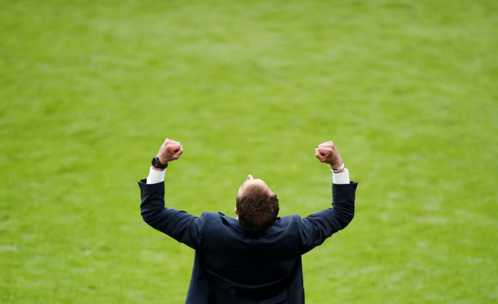 مربی تیم انگلیس در مسابقه مقابل آلمان در یک هشتم فینال یورو ۲۰۲۰