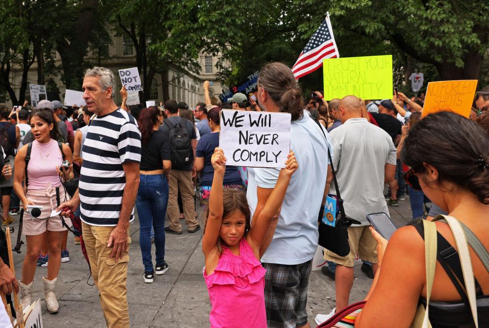 تظاهرات علیه واکسیناسیون اجباری در آمریکا