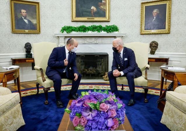 جو بایدن رئیس جمهور آمریکا و نفتالی بنت نخست وزیر اسرائیل
