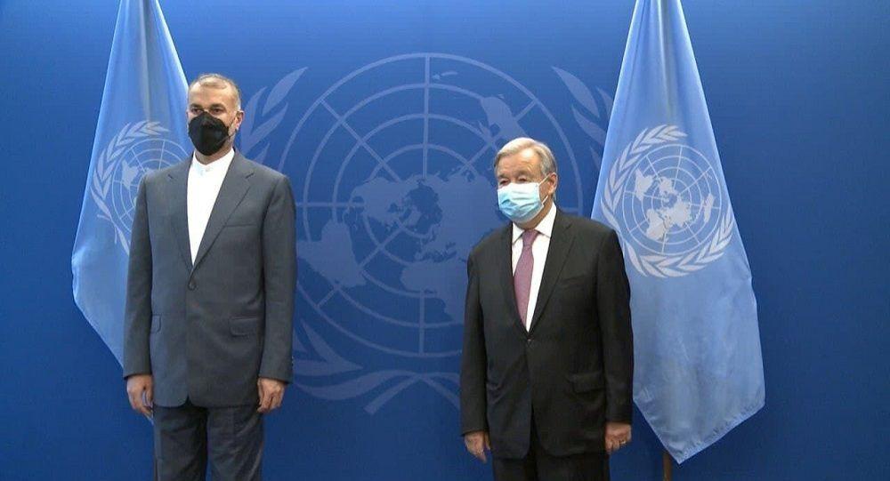 دیدار وزیر خارجه ایران با دبیر کل سازمان ملل