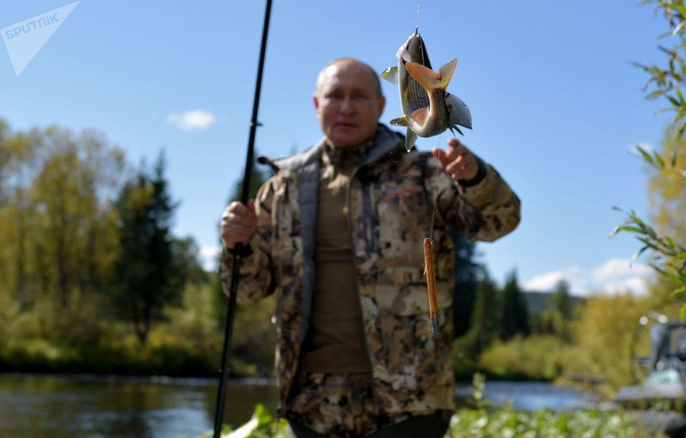 ولادیمیر پوتین رئیس جمهور روسیه در حال ماهیگیری در تایگا روسیه