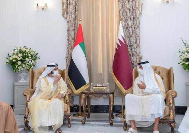 دیدار محمد بن زاید ولیعهد امارات با محمد بن عبدالرحمان آل ثانی وزیر خارجه قطر