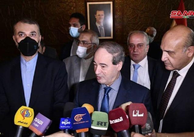 حسین امیر عبداللهیان، وزیر خارجه ایران در  دیدار با همتای سوری خود