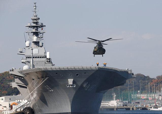 بزرگترین ناوشکن هلیکوپتربر ژاپن، جهت اسکورت کشتی آمریکایی به آب های ژاپن ارسال شد