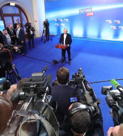 پس از شمارش آراء ولادیمیر پوتین با 76,67 درصد آراء پیروز شد
