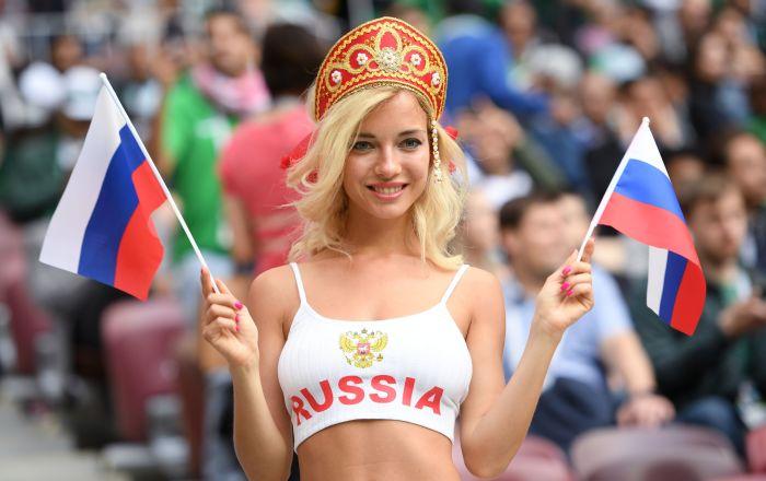 هوادار تیم روسیه در مسابقات جام جهانی -2018 در روسیه