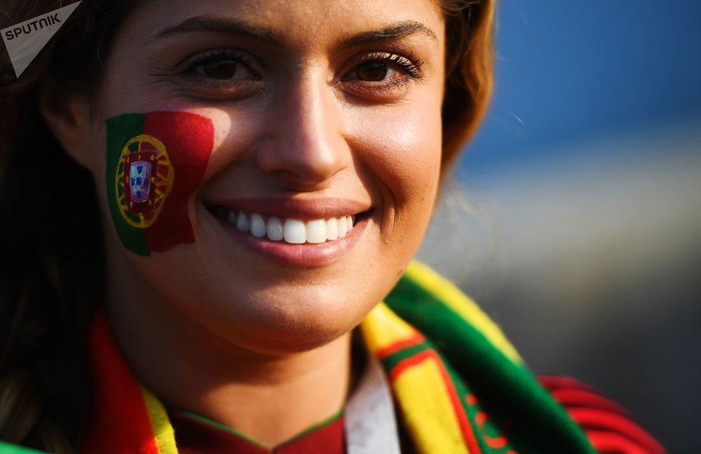 هوادار تیم پرتغال در مسابقات جام جهانی -2018 در روسیه