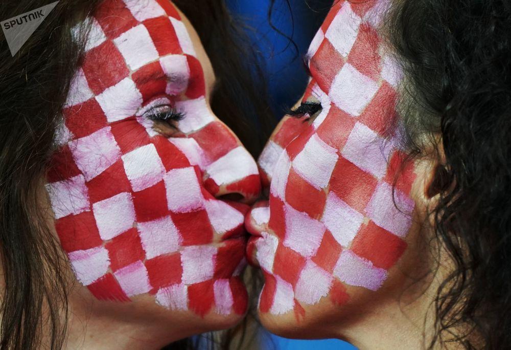 هواداران تیم ملی کرواسی در مسابقه مرحله گروهی بین تیم های کرواسی و ایسلند