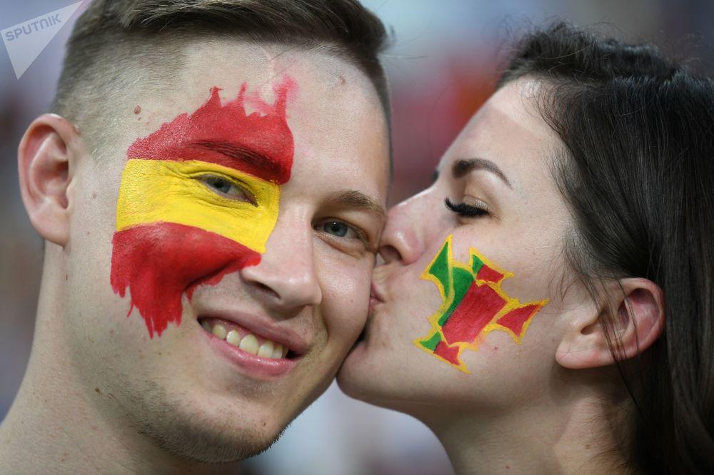 هواداران تیم ملی اسپانیا قبل از بازی اسپانیا و پرتغال