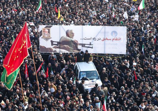 مراسم تشییع پیکر و وداع با سردار قاسم سلیمانی در تهران که در فرودگاه بغداد ترور شد