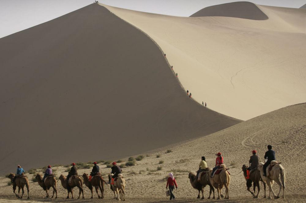 گردشگران سوار بر شتر در حاشیه کویری که خطر بلعیده شدن شهر باستانی دون هوانگ چین به خاطرپیشروی آن وجود دارد.